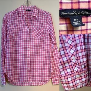 American Eagle Outfitters | Pink Plaid Shirt | M